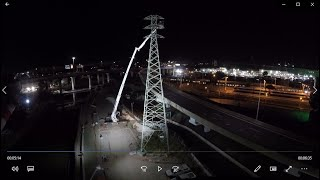 WestGate Tunnel Project Powerline Retrieval (de-stringing) at Night at Citylink Dynon Rd. exit ramp