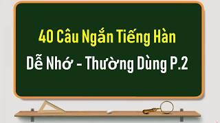 40 CÂU TIẾNG HÀN NGẮN DỄ NHỚ - THƯỜNG DÙNG PHẦN 2 | Học Tiếng Hàn Online