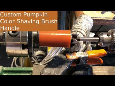 Turning a Polyester Resin Pumpkin Color Shaving Brush Handle