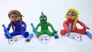 SUPERHEROES BABIES COLORING DUEL STOP MOTION PLAY DOH CARTOONS FOR KIDS