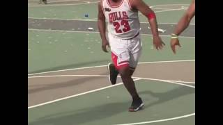Michael Jordan Plays Pickup Game (Guy Wearing Michael Jordan Chicago Bulls Jersey Plays Pickup Game)