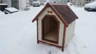 Утепленная будка для собаки в виде домика