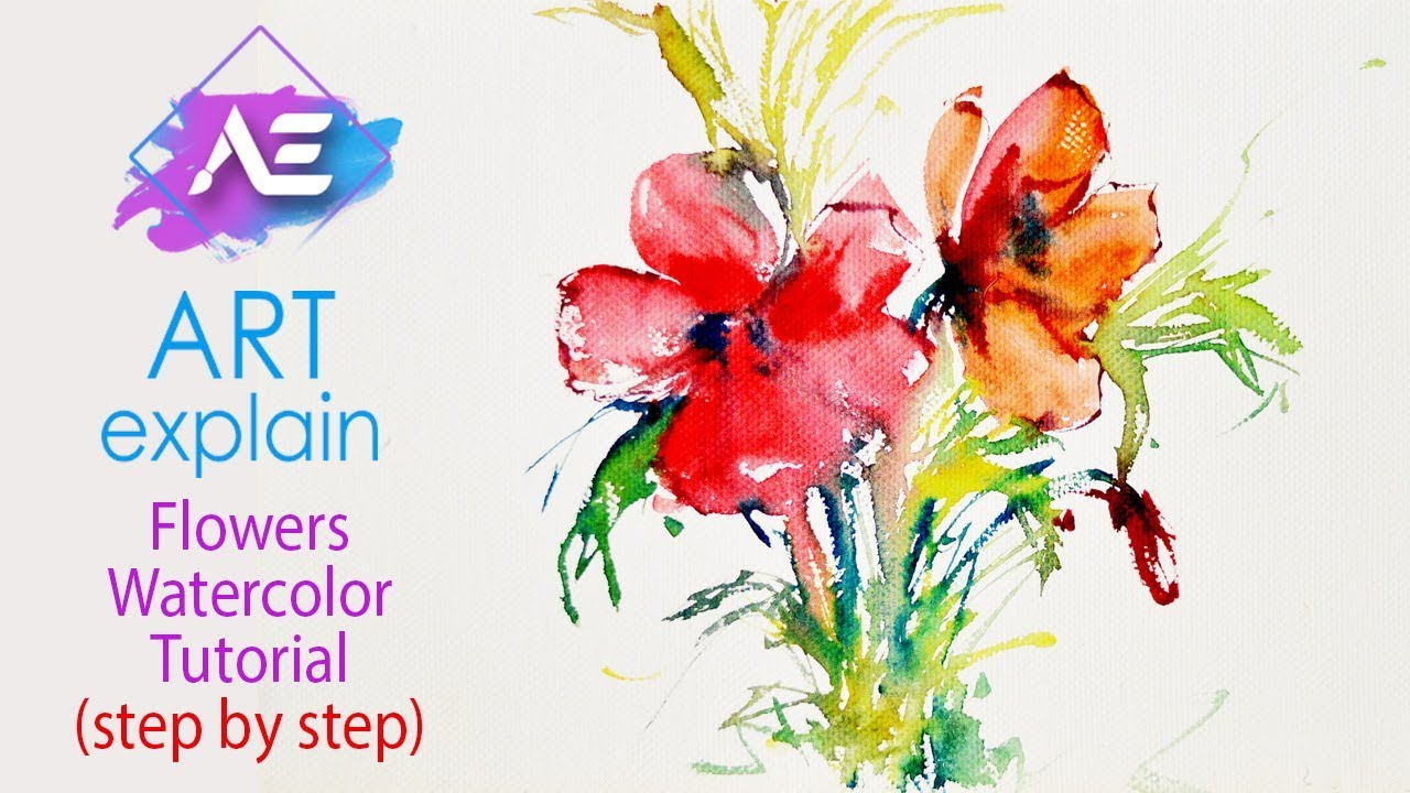 Watercolor Painting flower Tutorial | How to paint a watercolor ...