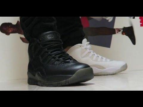 0eb4a43da634 Drake Air Jordan OVO 10 Black VS White Sneakers On Feet  PickOne ...