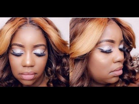 sliver glitter cut crease makeup tutorial  youtube