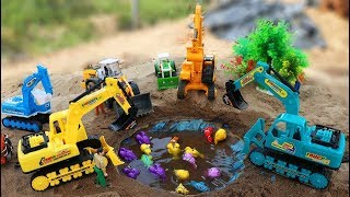 Building A Pool For Fish - Excavator , Wheel loader ,Construction Vehicles Toys for Children