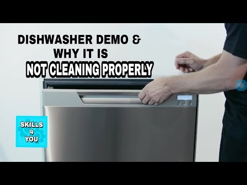 DISHWASHER DEMO AND WHY IT IS NOT CLEANING PROPERLY AND SPRAYING WATER