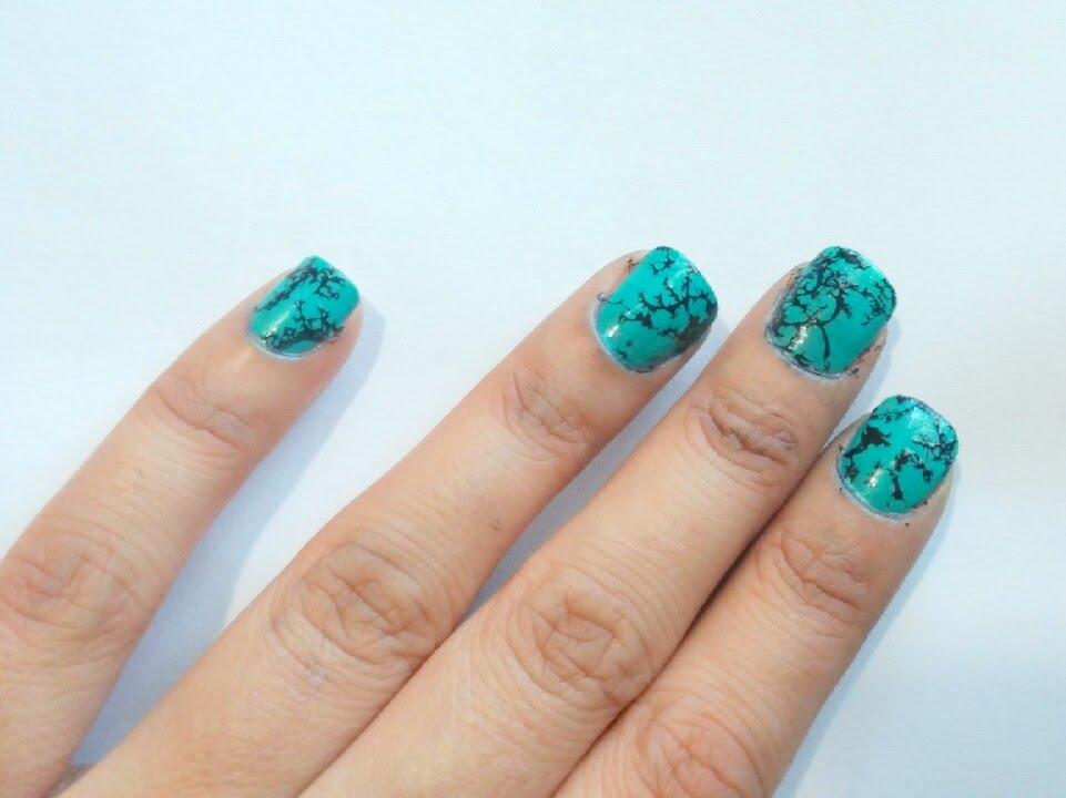 turquoise stone nail art design