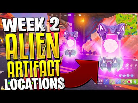 Location Of Artifacts In Fortnite Week 2 All Week 2 Alien Artifacts In Fortnite All 5 Alien Artifact Locations Youtube