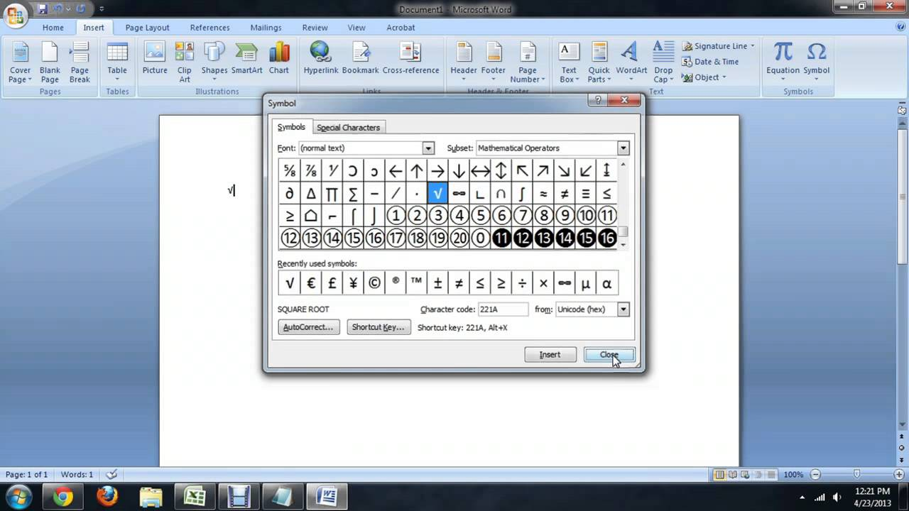 How to Type Numbers With the Square Root Symbol Using ...