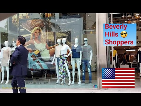 Los Angeles Driving Tour: Beverly Hills Shopping Streets on a Cloudy Summer Day. July 2017