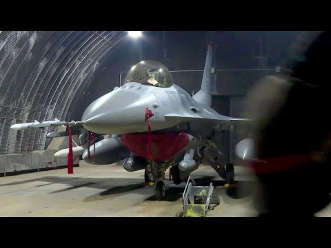 USAF F-16 Maintenance at Osan, Korea - Airmen in MOPP Gear