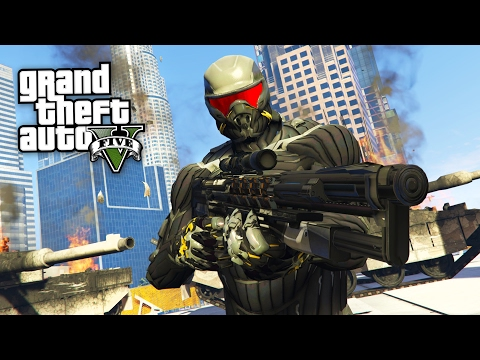 CRYSIS NANOSUIT w/ SUPERHUMAN POWERS!! (GTA 5 Mods)