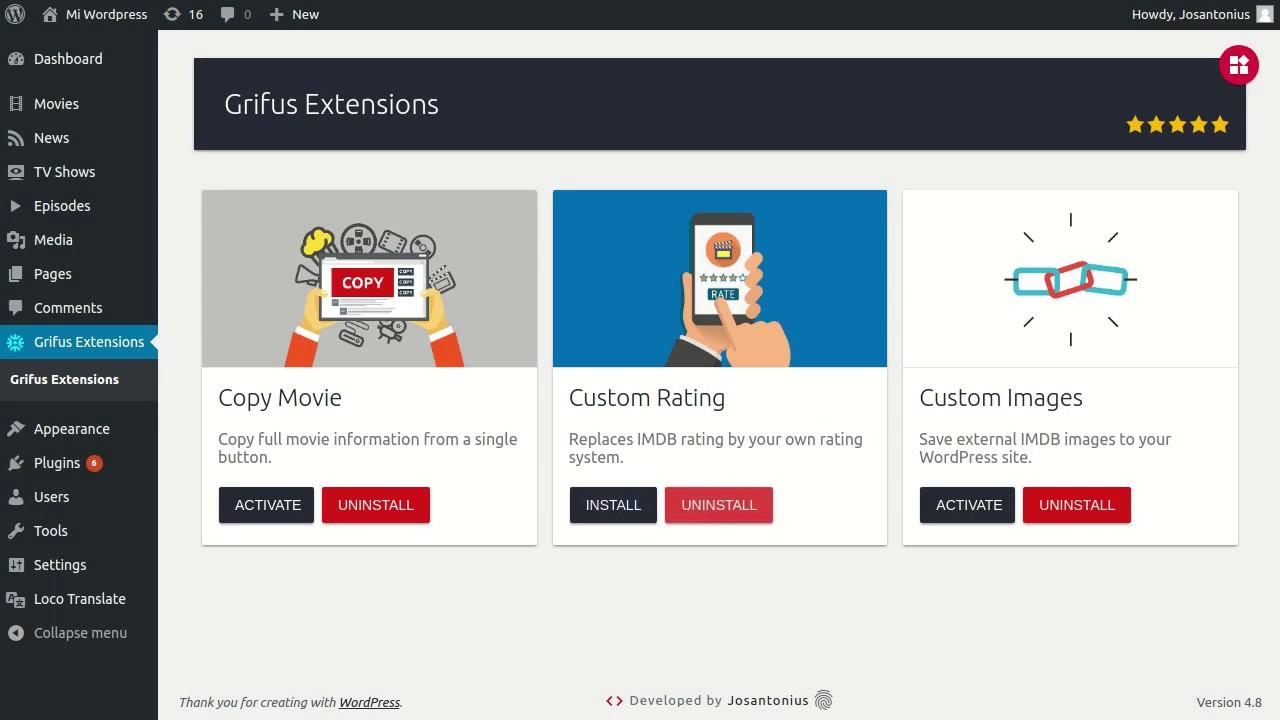 Extensions For Grifus | v1 0 0 | WordPress plugin | EN
