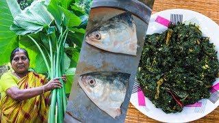 Hilsa/Ilish Vorta with Taro Spinach Recipe by Village Food Life