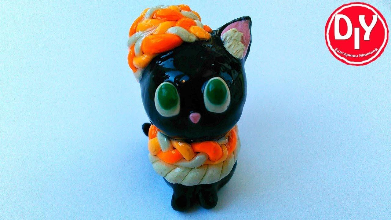 ???????????? Котенок из простого пластилина покрытый эпоксидной смолой.