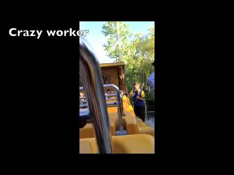 Crazy amusement park worker