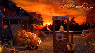 🍂🍎AUTUMN FARM AMBIENCE: Leaves, Nature Sounds, Apple Cider Pouring