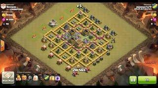 Clash of Clans TH7 vs TH8 Hog Rider & Healer Clan War 3 Star Attack