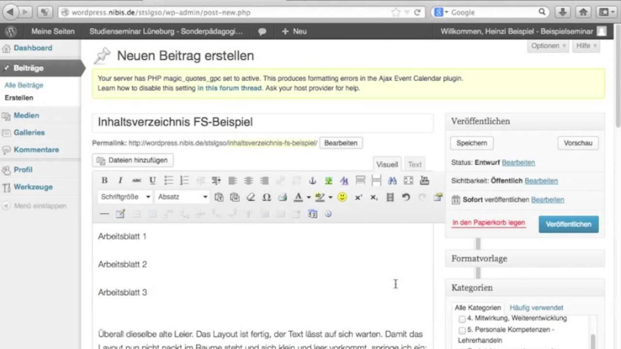 2. In WordPress einen Beitrag erstellen - YouTube