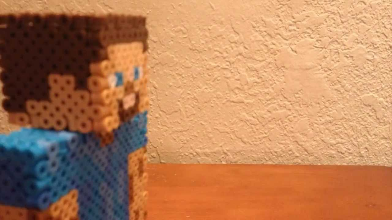 Minecraft Inspired Perler Bead Stop Animation With Steve A Pig And A Cow