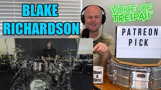 Drum Teacher Reaction: BLAKE RICHARDSON - 'Voice of Trespass' Live drum play through (2021 Reaction)