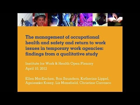 Management of OHS and return-to-work issues in temporary work agencies, April 10, 2012