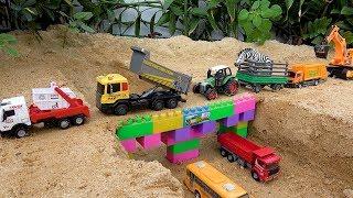 грузовик, экскаватор, трактор, мусоровозы. видео для детей