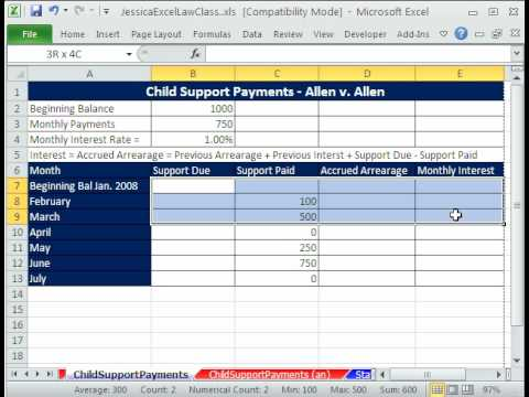 Law Class Excel #2 Child Support Payments Template - Jessica\u0027s Law