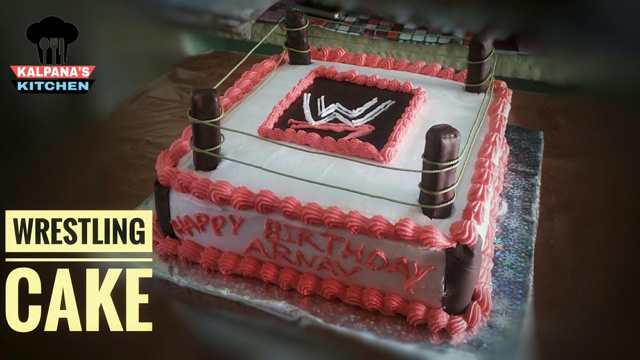 Wrestling Cake | Cake Design #1 | Eggless Homemade Cake - YouTube