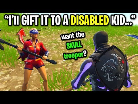 Kid GIFTS Skull Trooper To Disabled Kid on Fortnite with MY V-Bucks...