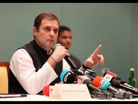 Congress President Rahul Gandhi addresses the media in Dubai