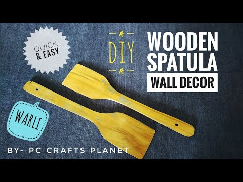 DIY wooden spatula wall decor- WARLI | Wall hanging craft ideas| Wall decoration ideas| wall art