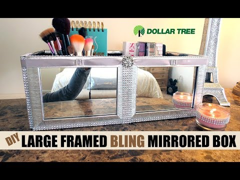 Dollar Tree D.I.Y.  Large Brush Silver Framed Mirrored Box -