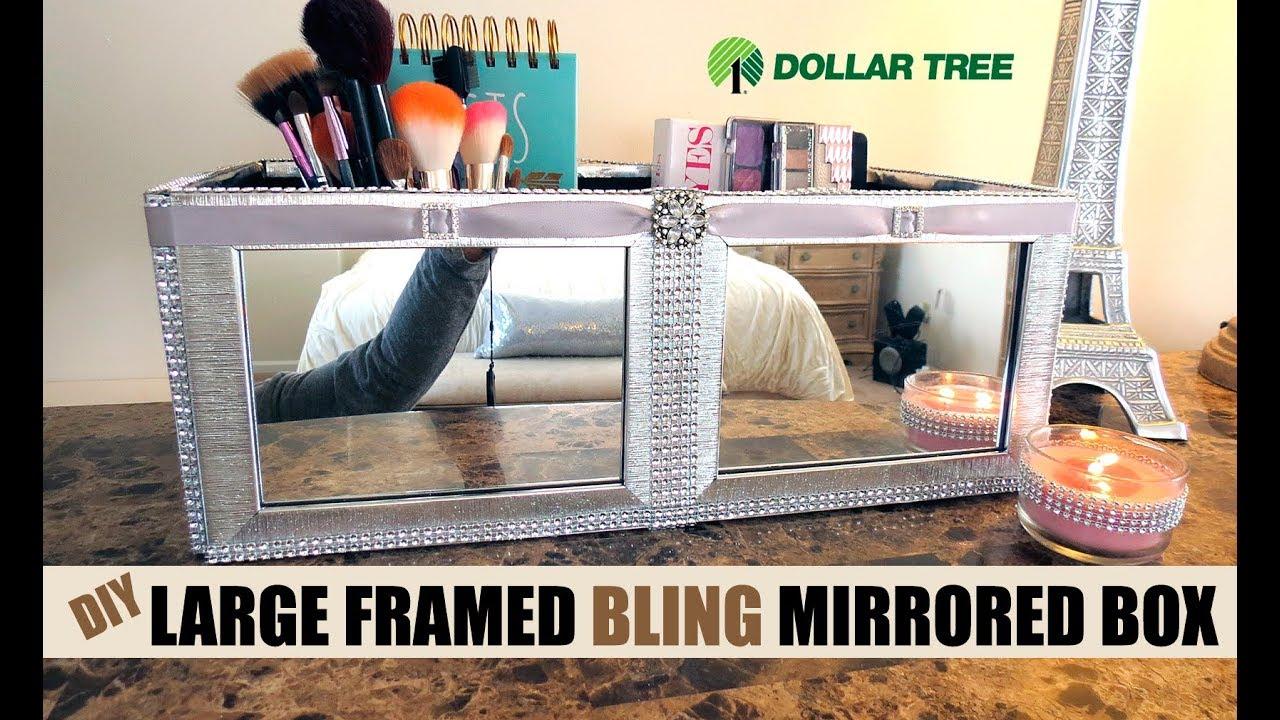 Dollar Tree D I Y Large Brush Silver Framed Mirrored Box 9