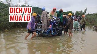 """Dịch vụ xe kéo """"lên ngôi"""" ở vùng rốn lũ Quảng Nam"""