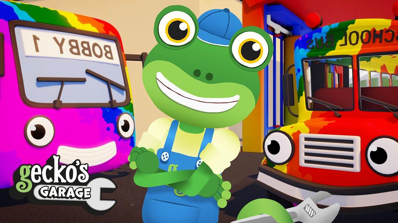 The Rainbow Buses | Gecko's Garage | Trucks For Children | Cartoons For Kids