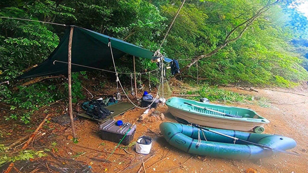 大雨で誰もいない海で釣りキャンプして二つの手漕ぎボートで1泊2日で旅したよ!【ダンゴ釣りでチヌを釣りたいシリーズ第一回】