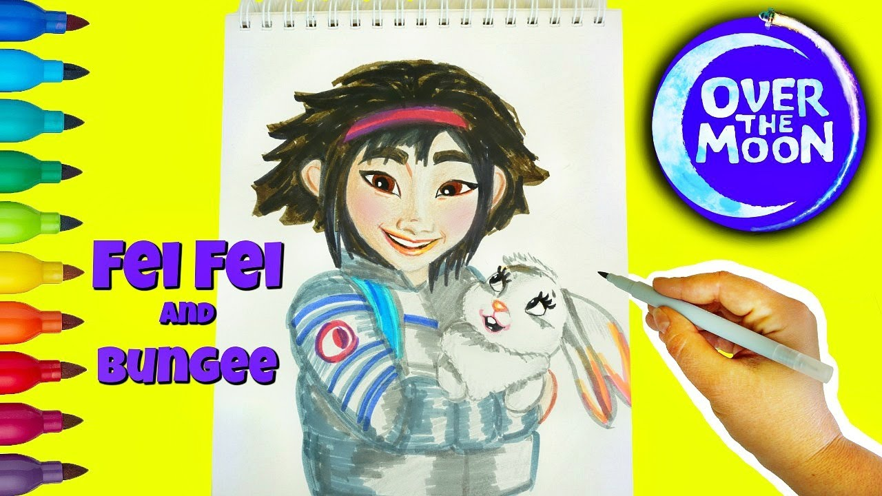 Over The Moon Learn How To Draw, Color Fei Fei and Bungee