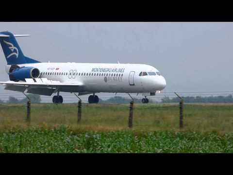 Montenegro Airlines Fokker 100 Landing and Takeoff from Belgrade