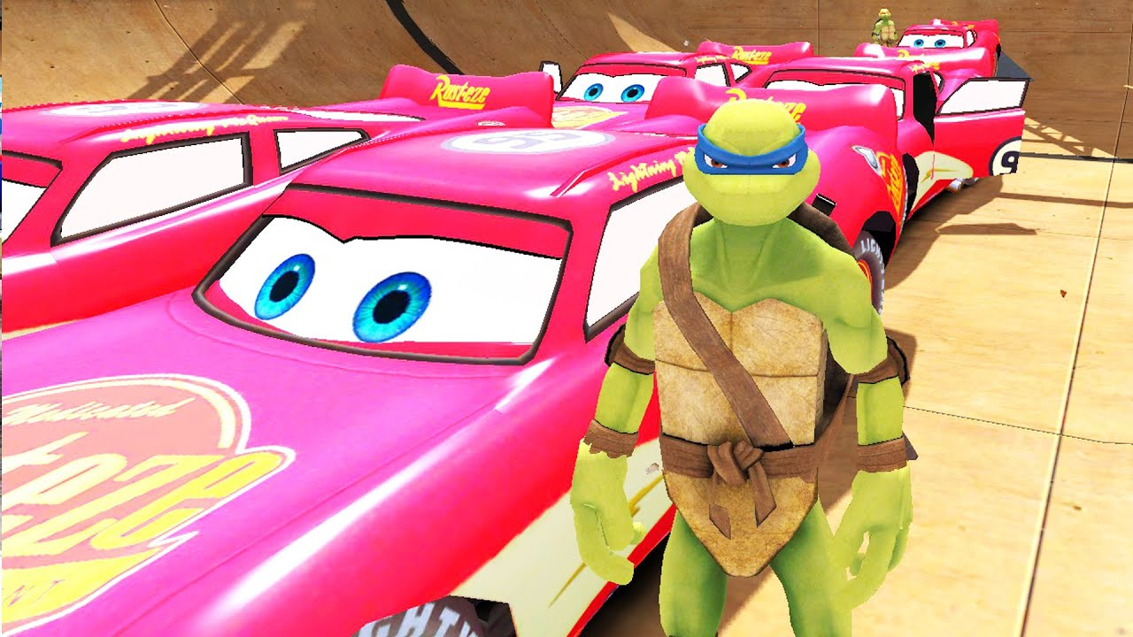 tortues ninja 5 flash mcqueen disney cars 2 moto voiture de police dessin anim francais youtube