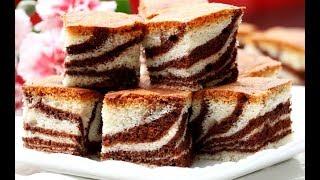 How To Make Zebra Cake طرز تهیهٔ کیک دو رنگ کاکاو و ونیلا  Zebra Cake Recipe