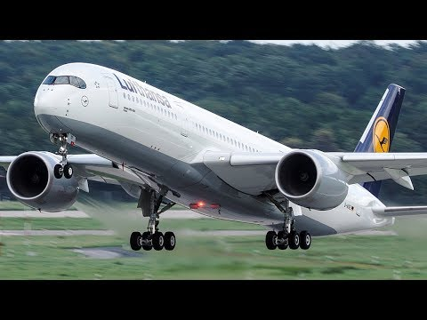 FIRST Lufthansa AIRBUS 350 LANDING at Düsseldorf - 4K
