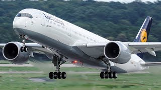 Top 10 Airlines - FIRST Lufthansa AIRBUS 350 LANDING at Düsseldorf - 4K