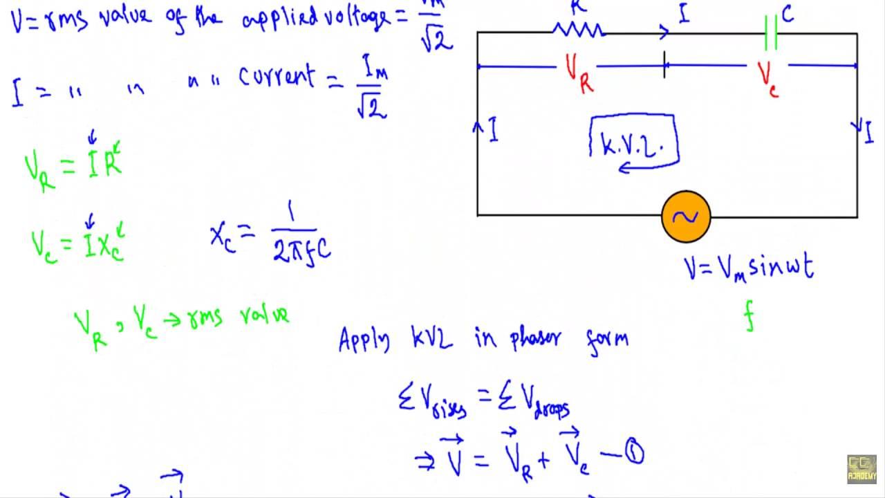 hight resolution of ac through series rc circuit phasor diagram