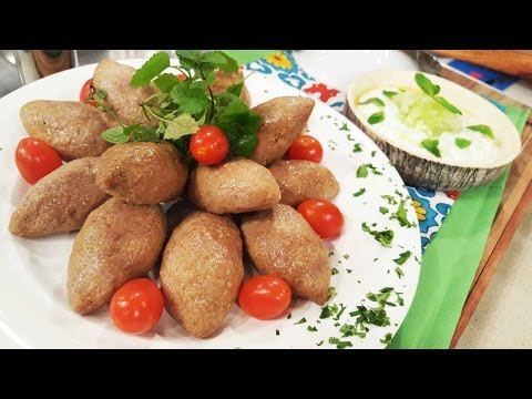 Keppe fritos con babaganush y salsa de pepinos