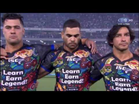 Two versions of the national anthem will be played at the Indigenous round