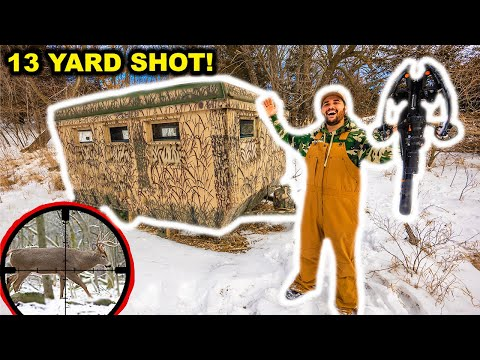 CROSSBOW Deer Hunting in the LUXURY BLIND in My BACKYARD!!! (Catch Clean Cook)