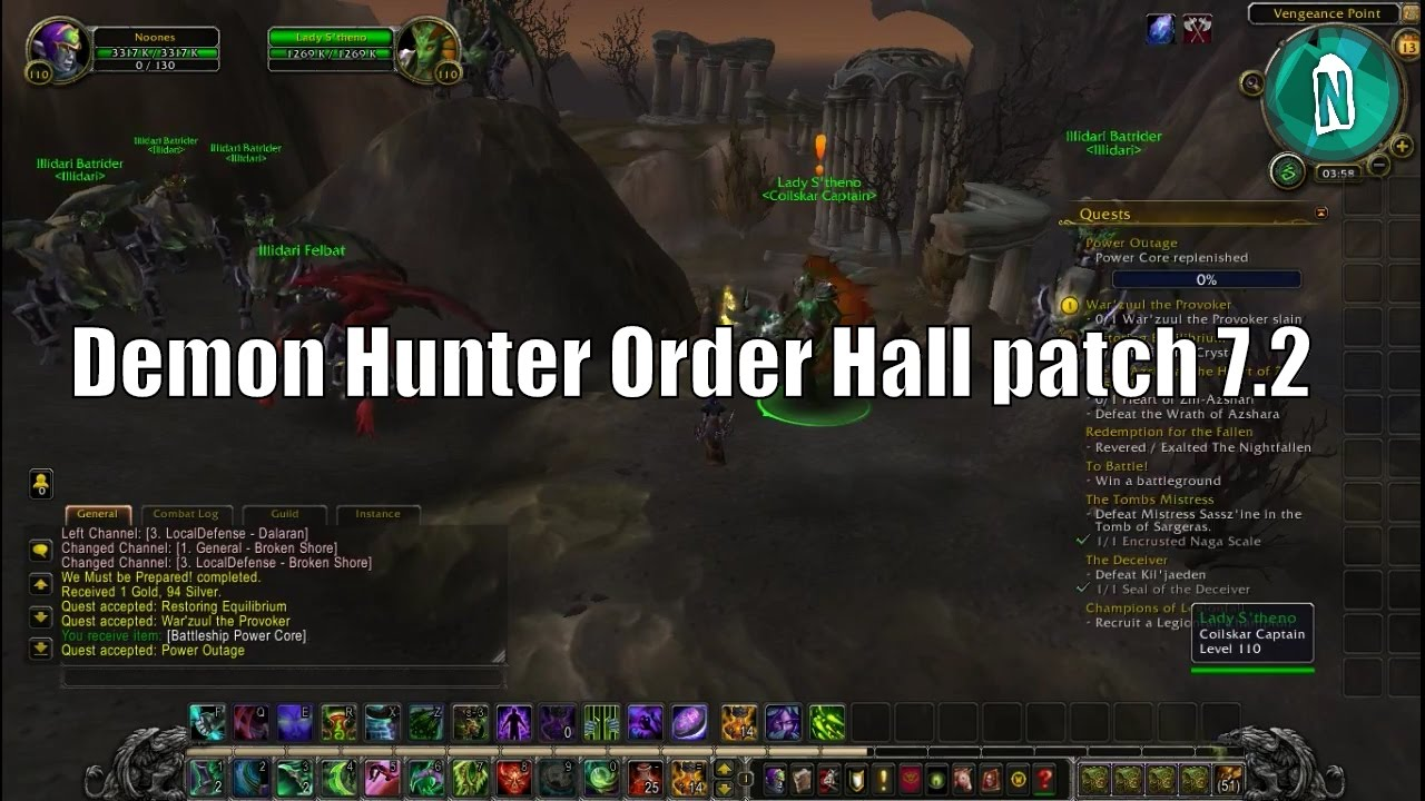 Demon Hunter Order Hall And Lady S Theno Questline Champions Of Legionfall In Patch 7 2 Youtube