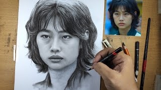 Learn to Draw woṁan Portrait in Pencil ( Hoyeon Jung )